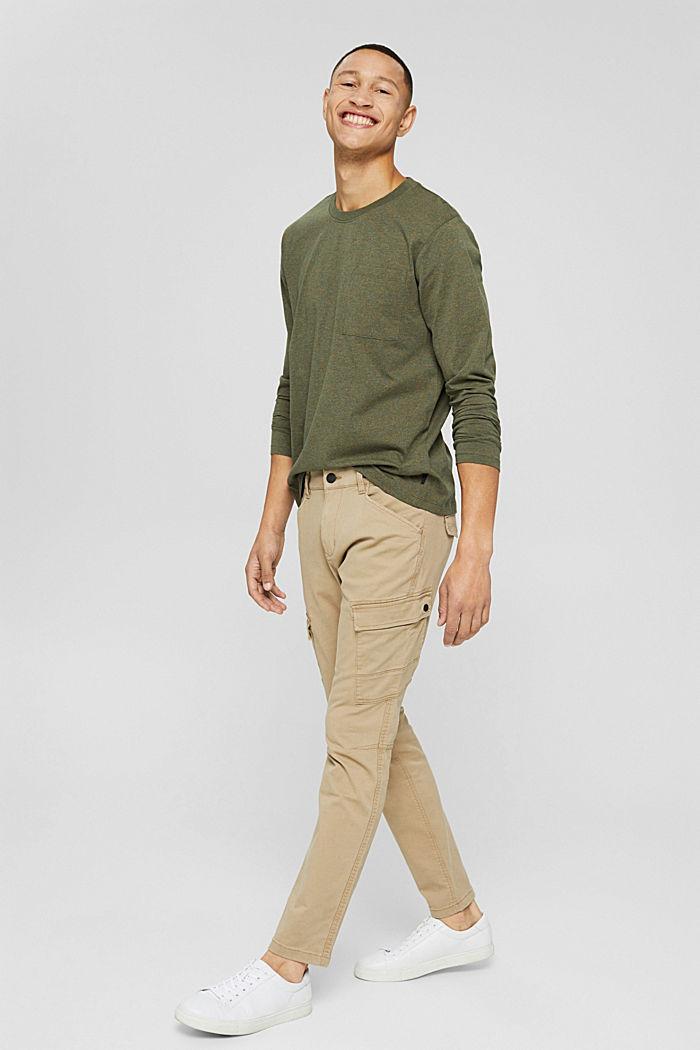 T-shirt en jersey à manches longues, en 100 % coton, DARK KHAKI, detail image number 6