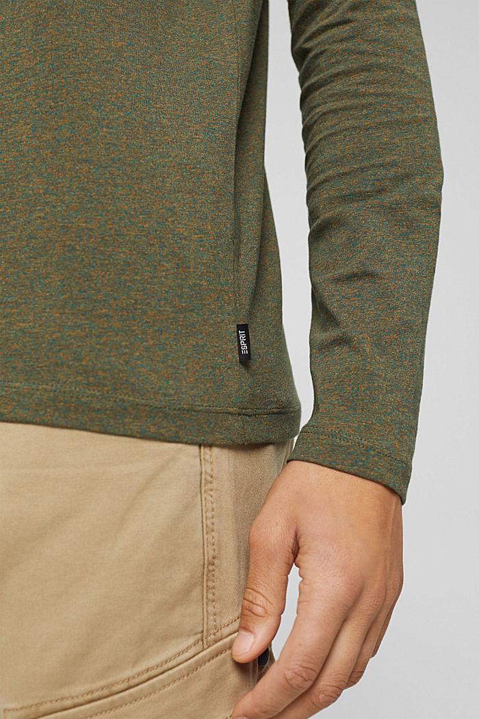 T-shirt en jersey à manches longues, en 100 % coton, DARK KHAKI, detail image number 1