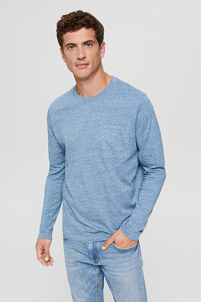 T-shirt en jersey à manches longues, en 100 % coton, BLUE, detail image number 0