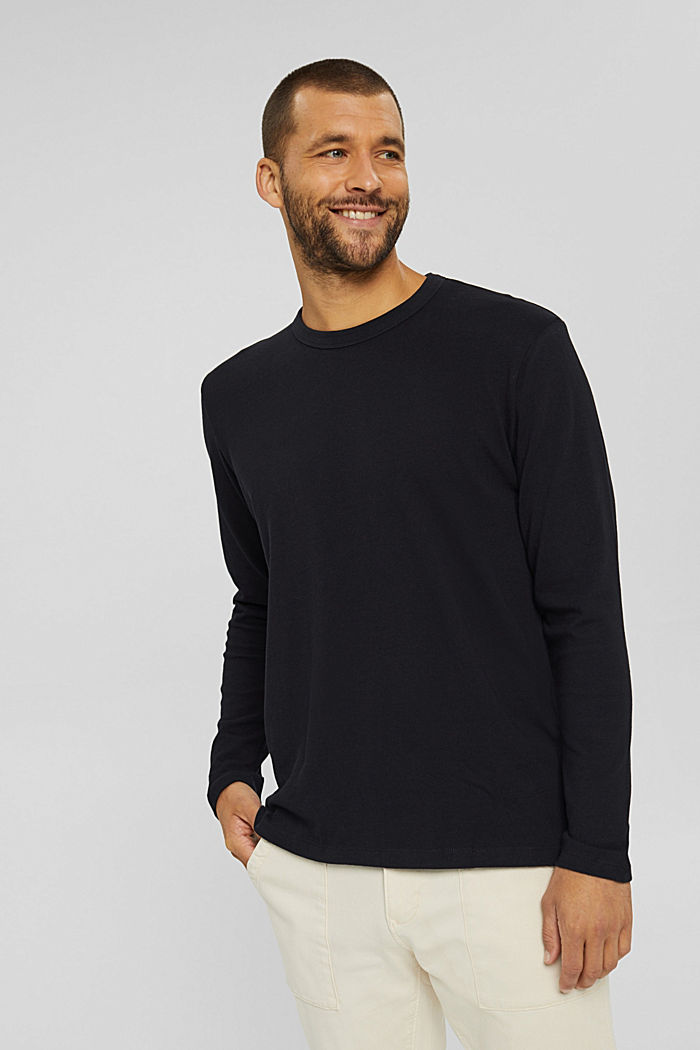 Jersey longsleeve van 100% biologisch katoen, BLACK, detail image number 0