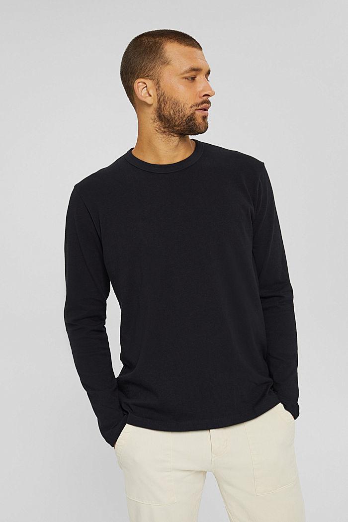 Jersey longsleeve van 100% biologisch katoen, BLACK, detail image number 4