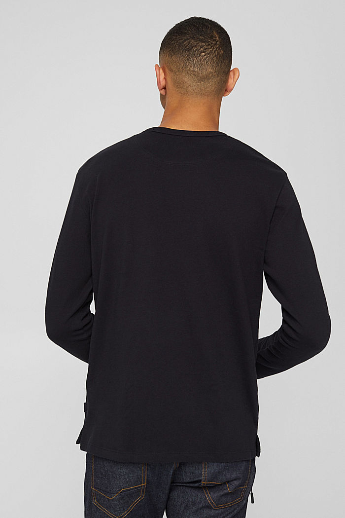 Jersey longsleeve van biologisch katoen, BLACK, detail image number 3