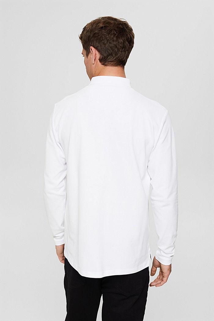 Polo de piqué con manga larga, algodón ecológico, WHITE, detail image number 3