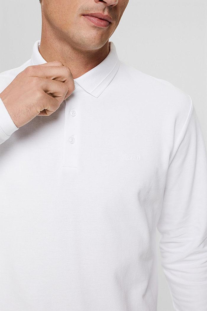 Polo de piqué con manga larga, algodón ecológico, WHITE, detail image number 1