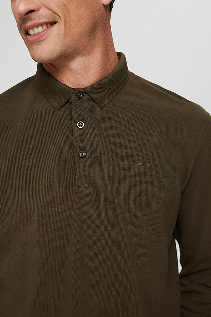 Langärmeliges Piqué-Polo, Organic Cotton, DARK KHAKI, detail image number 1