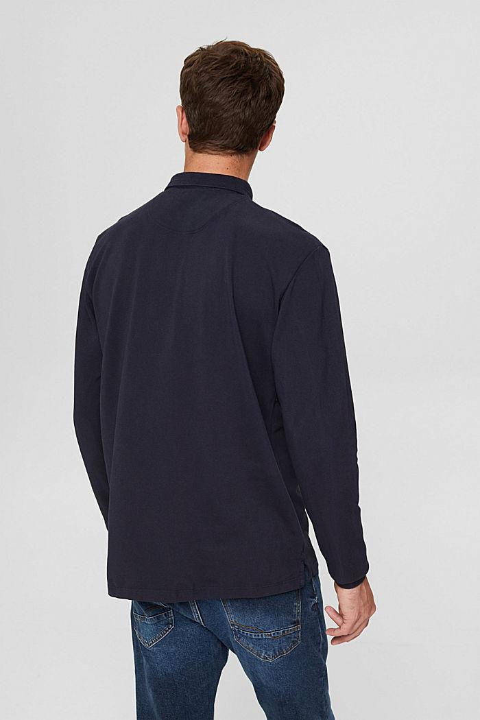 Piqué poloshirt met lange mouwen, organic cotton, NAVY, detail image number 3