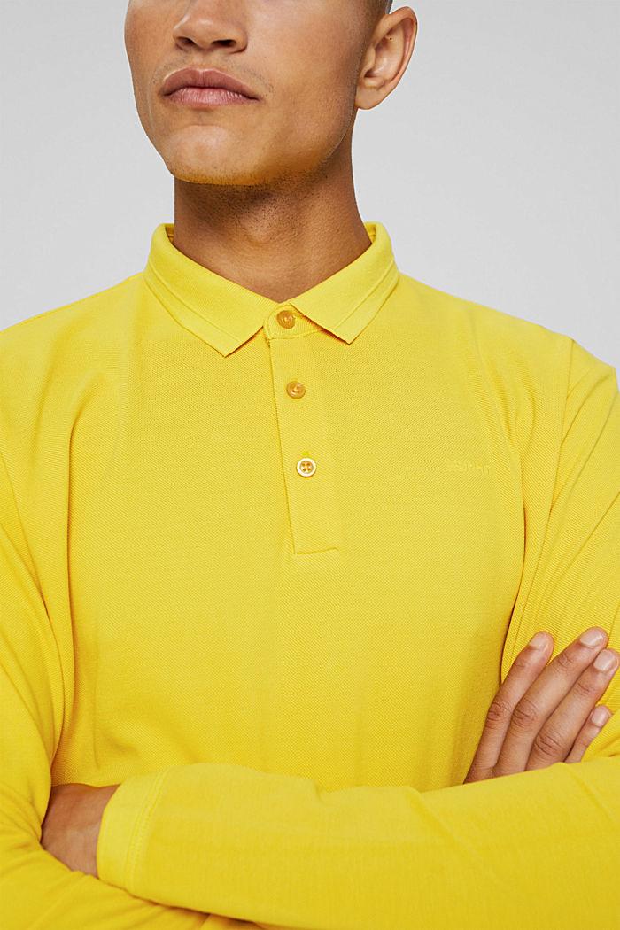 Polo à manches longues en maille piquée, coton biologique, YELLOW, detail image number 1