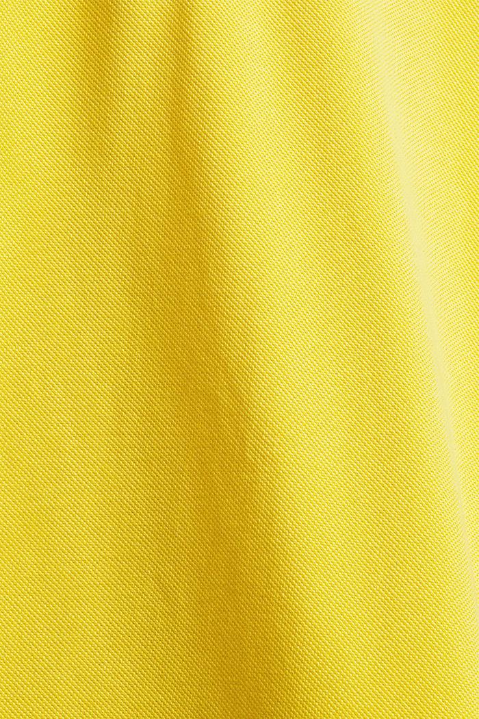 Polo à manches longues en maille piquée, coton biologique, YELLOW, detail image number 5