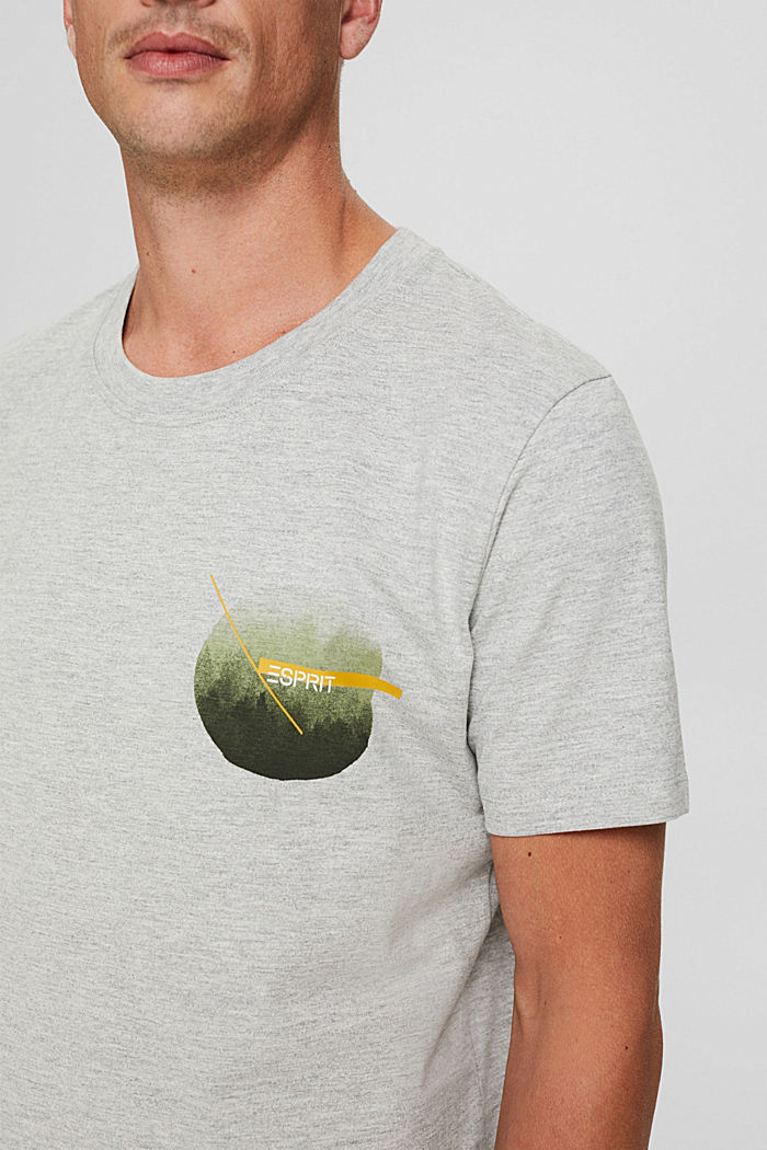Jersey-T-Shirt mit Print, Organic Cotton, LIGHT GREY, detail image number 1