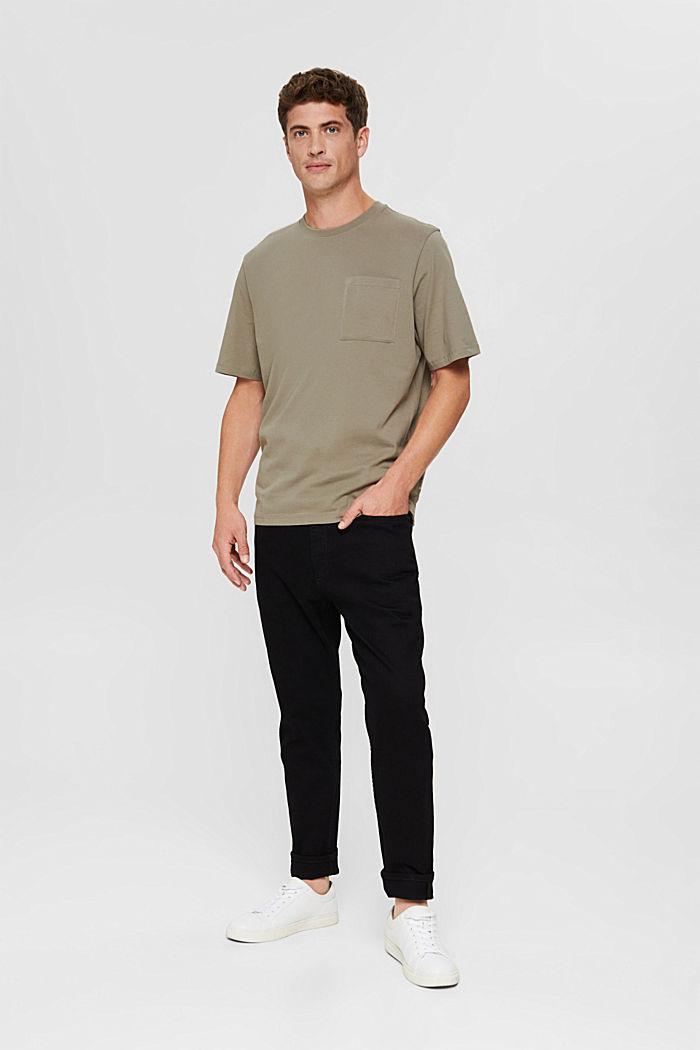 Jersey-T-Shirt mit Stickerei, Organic Cotton, PALE KHAKI, detail image number 6