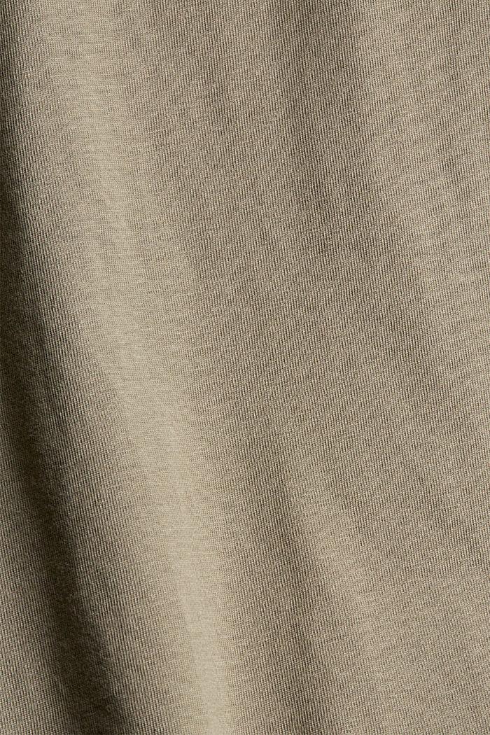 Jersey-T-Shirt mit Stickerei, Organic Cotton, PALE KHAKI, detail image number 4