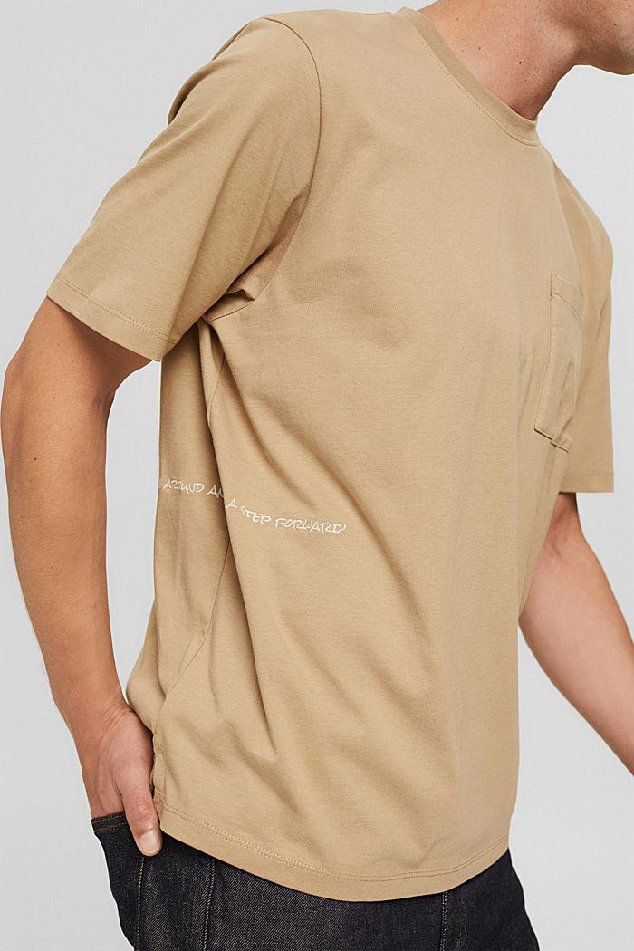 Jersey-T-Shirt mit Stickerei, Organic Cotton, BEIGE, detail image number 1