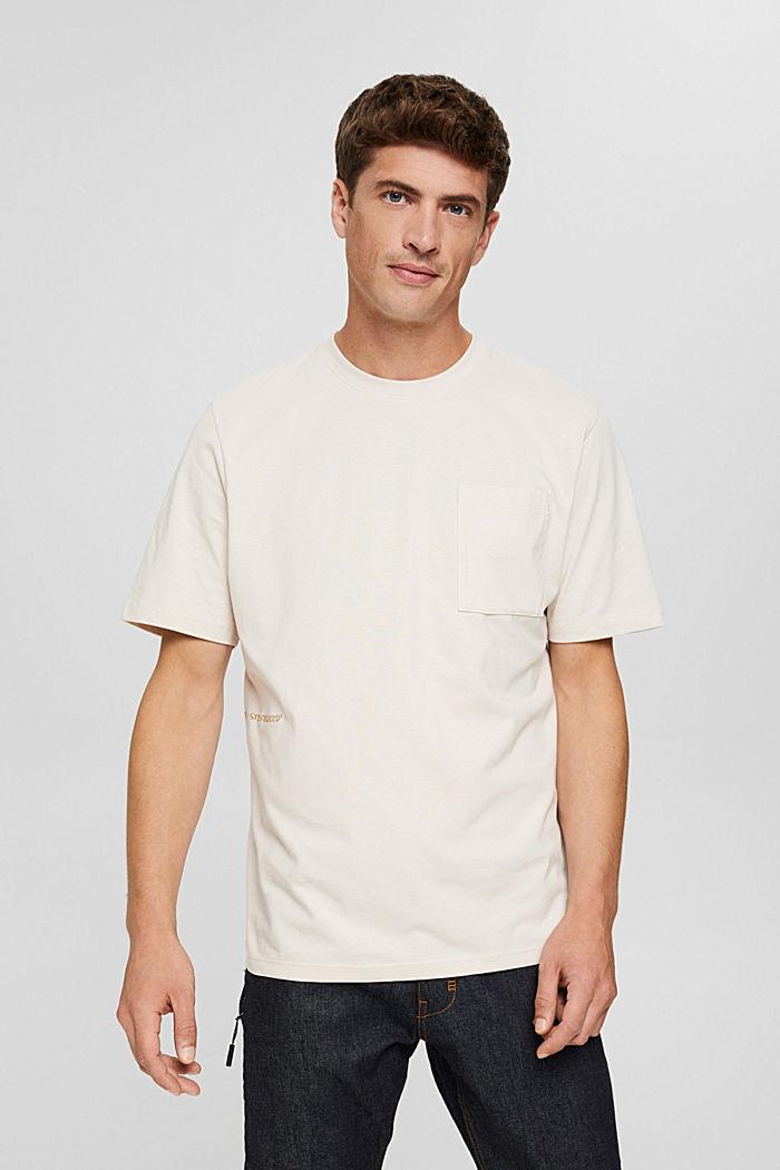 Jersey-T-Shirt mit Stickerei, Organic Cotton, CREAM BEIGE, detail image number 0