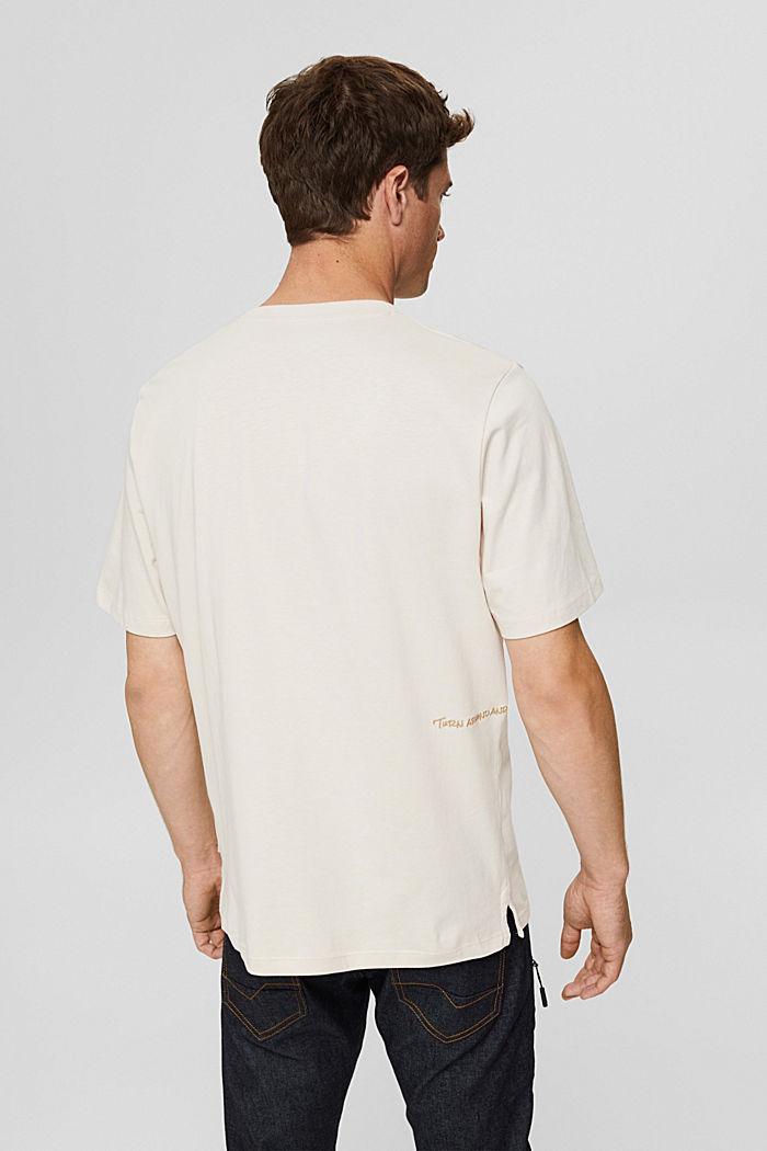 Jersey-T-Shirt mit Stickerei, Organic Cotton, CREAM BEIGE, detail image number 3