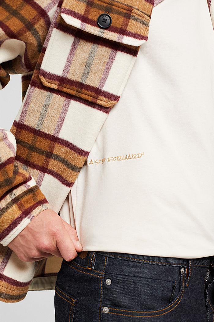 Jersey-T-Shirt mit Stickerei, Organic Cotton, CREAM BEIGE, detail image number 6
