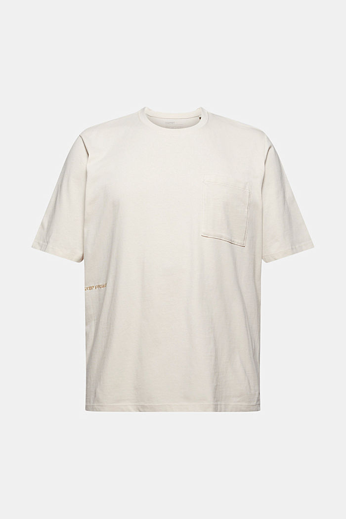 Jersey-T-Shirt mit Stickerei, Organic Cotton, CREAM BEIGE, detail image number 7
