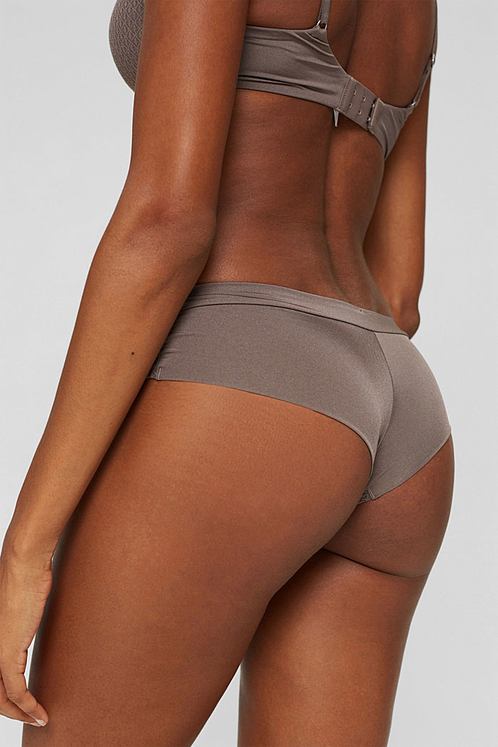 Recycelt: Hipster-Shorts mit Soft Touch, TAUPE, detail image number 3