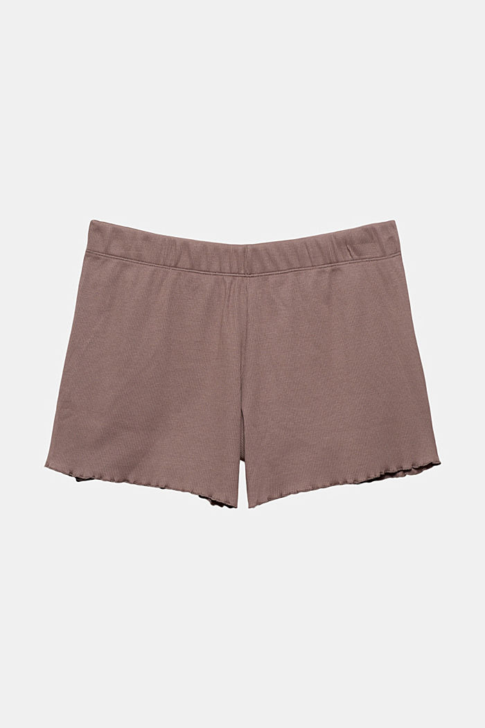 Gerippte Shorts aus Baumwolle, TAUPE, detail image number 4