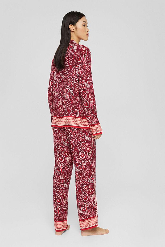 Langer Pyjama aus LENZING™ ECOVERO™, DARK RED, detail image number 2