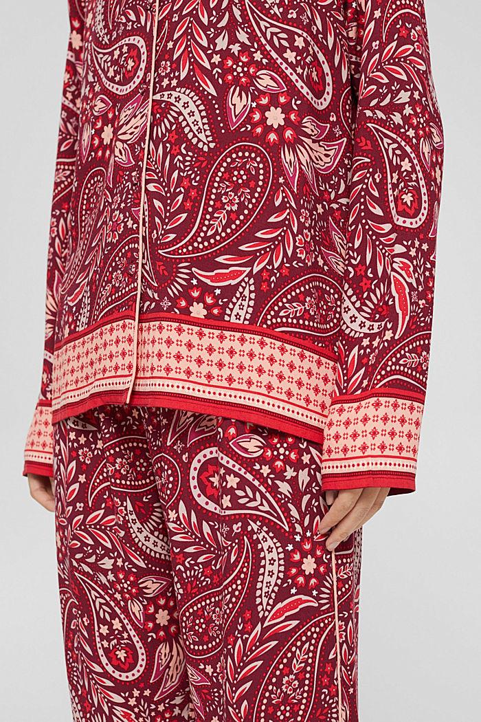 Langer Pyjama aus LENZING™ ECOVERO™, DARK RED, detail image number 3
