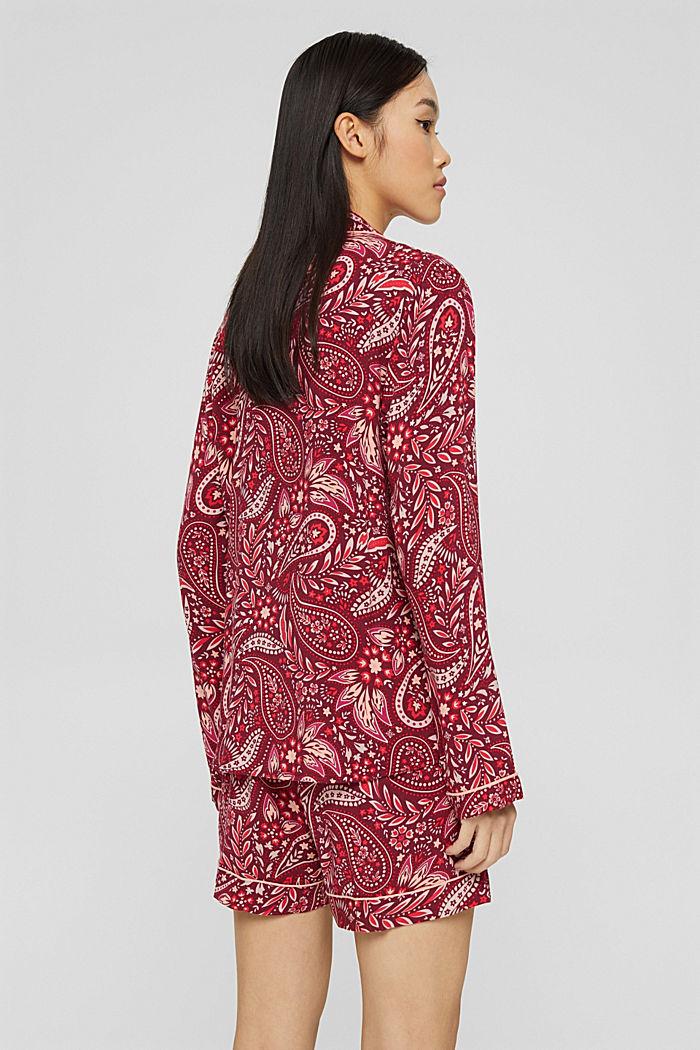 Pyjama court en LENZING™ ECOVERO™, DARK RED, detail image number 2