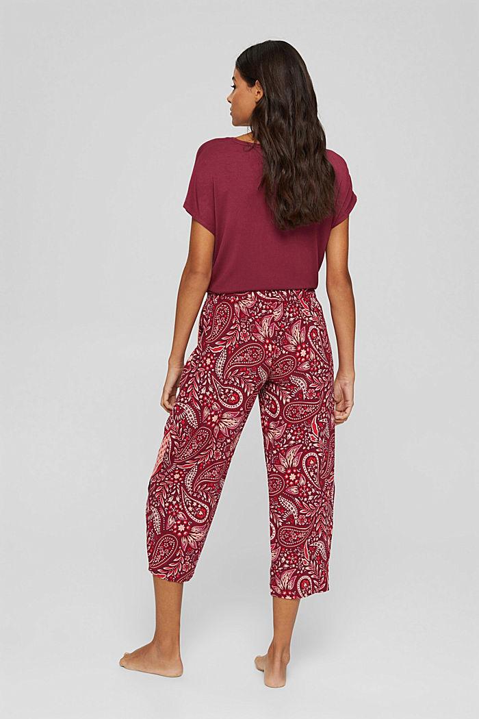 Cropped Pyjama-Hose aus LENZING™ ECOVERO™, DARK RED, detail image number 3