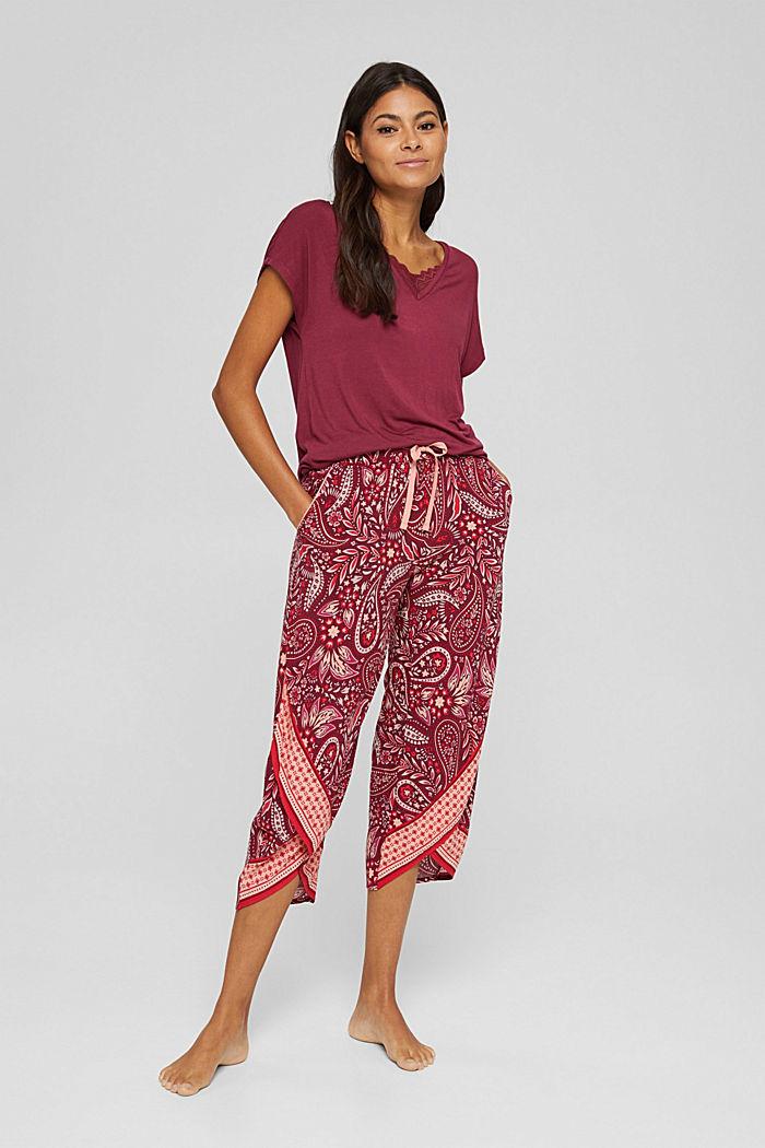 Cropped Pyjama-Hose aus LENZING™ ECOVERO™, DARK RED, detail image number 1