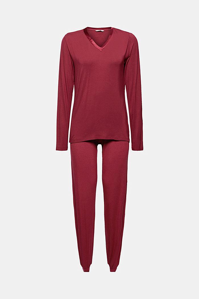 Jersey pyjama met satijn, LENZING™ ECOVERO™