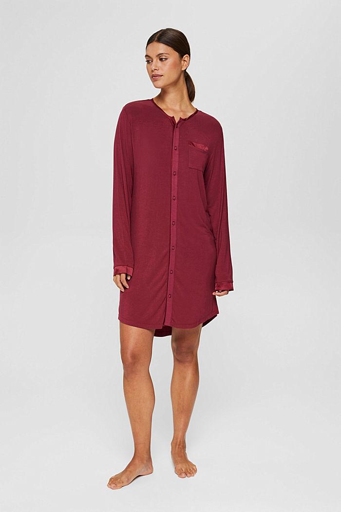 Jersey nachthemd van LENZING™ ECOVERO™, DARK RED, detail image number 0