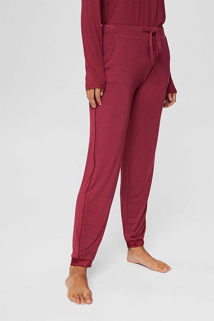 Pyjamahose mit Satin, LENZING™ ECOVERO™, DARK RED, detail image number 0