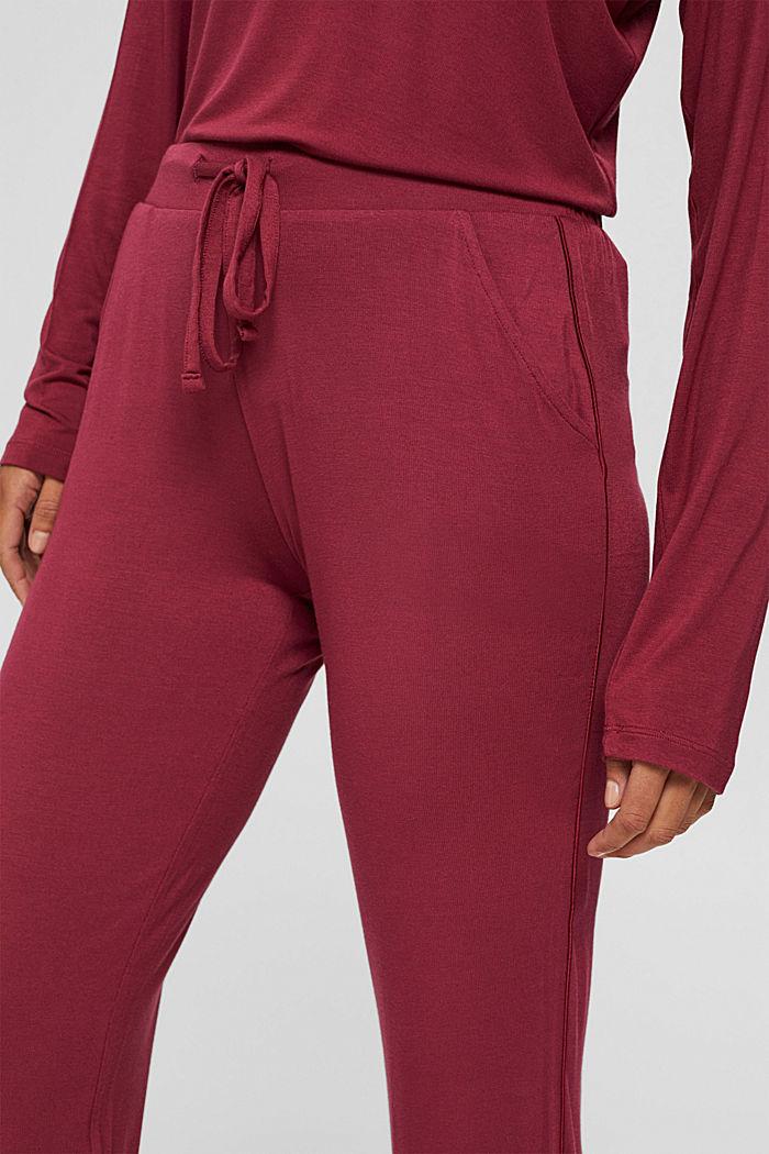 Pyjamahose mit Satin, LENZING™ ECOVERO™, DARK RED, detail image number 2