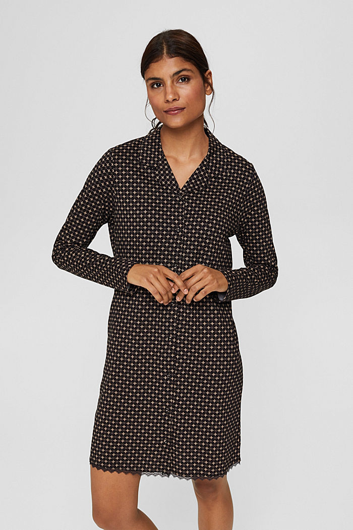 Jersey nachthemd van 100% biologisch katoen, BLACK, detail image number 1