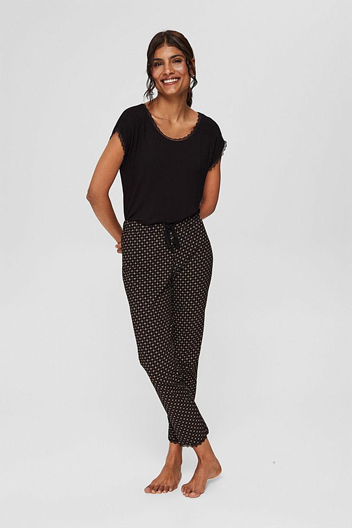 Pantalon de pyjama en jersey 100% coton biologique, BLACK, detail image number 1