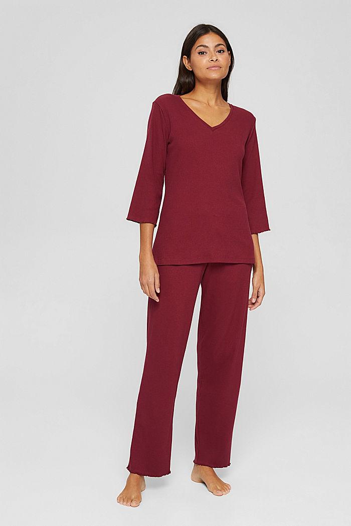 Gerippter Pyjama aus Baumwoll-Jersey, DARK RED, detail image number 0