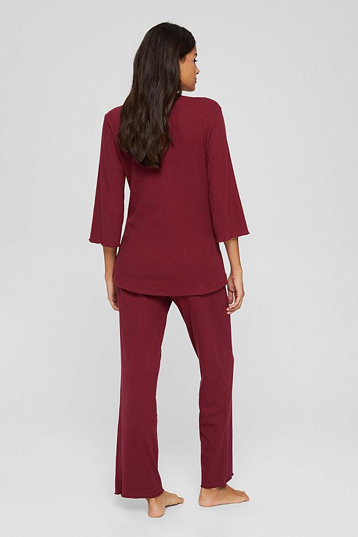 Gerippter Pyjama aus Baumwoll-Jersey, DARK RED, detail image number 1