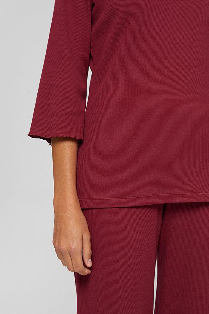 Gerippter Pyjama aus Baumwoll-Jersey, DARK RED, detail image number 2