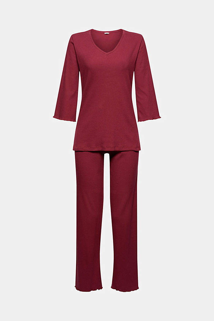 Gerippter Pyjama aus Baumwoll-Jersey, DARK RED, detail image number 4