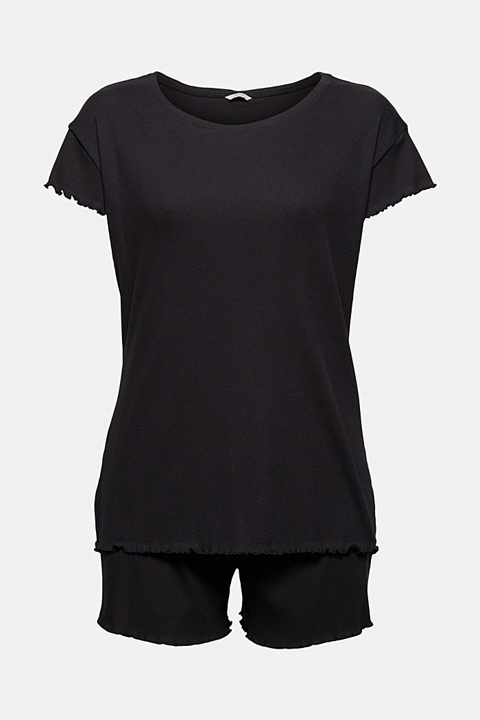 Gerippter Pyjama aus Baumwoll-Jersey, BLACK, detail image number 5