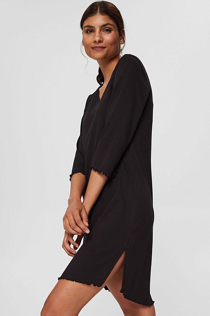 Geribd nachthemd van katoenen jersey, BLACK, detail image number 1