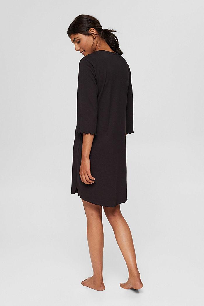 Geribd nachthemd van katoenen jersey, BLACK, detail image number 2