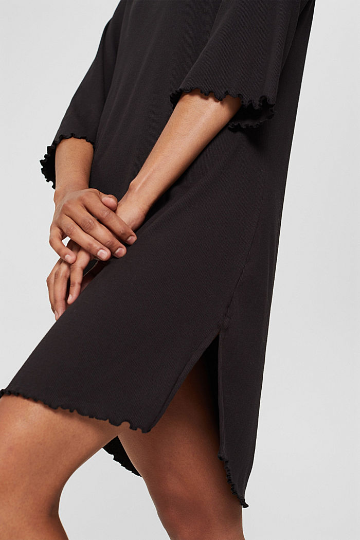 Geribd nachthemd van katoenen jersey, BLACK, detail image number 3