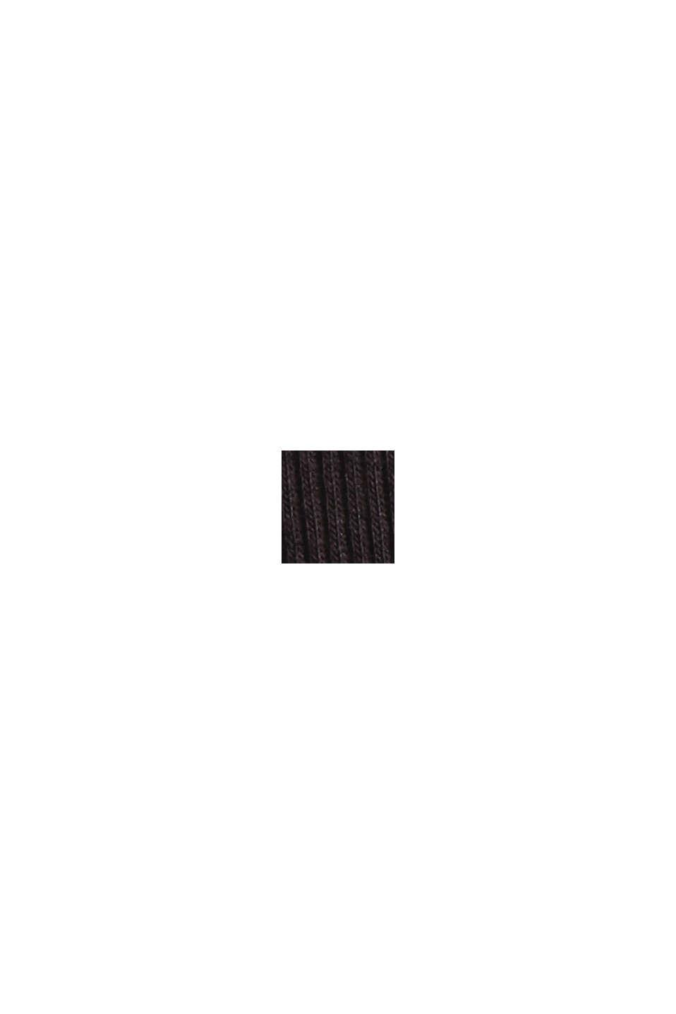 Geripptes Nachthemd aus Baumwoll-Jersey, BLACK, swatch