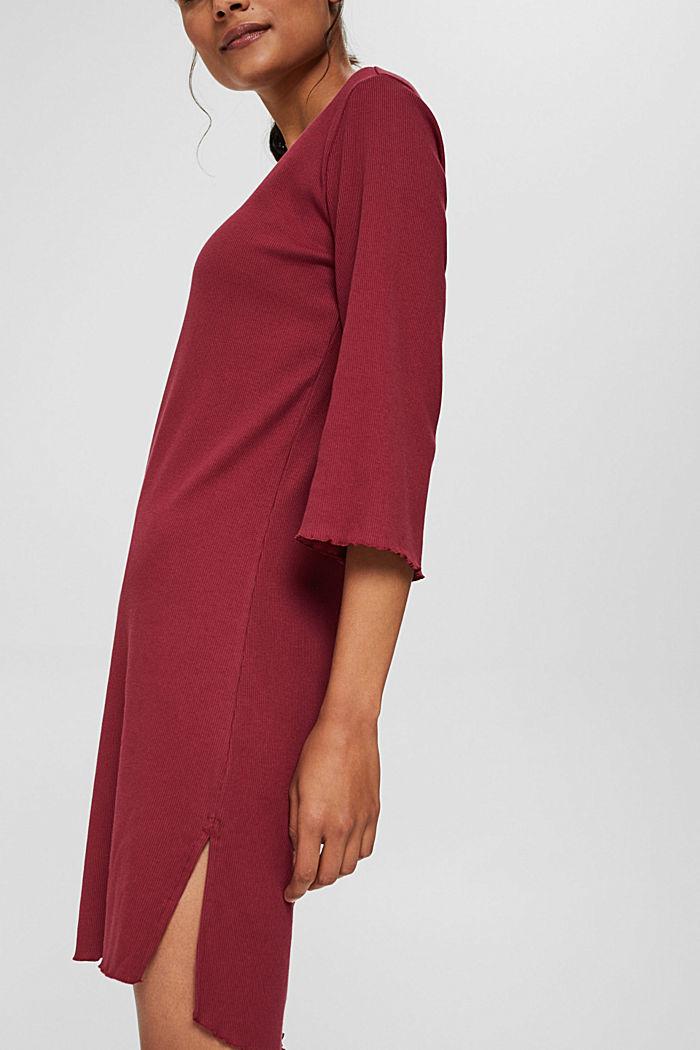 Geripptes Nachthemd aus Baumwoll-Jersey, DARK RED, detail image number 1