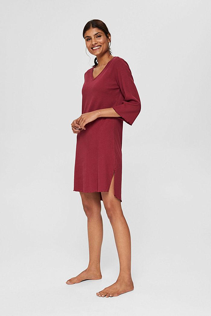 Geripptes Nachthemd aus Baumwoll-Jersey, DARK RED, detail image number 0