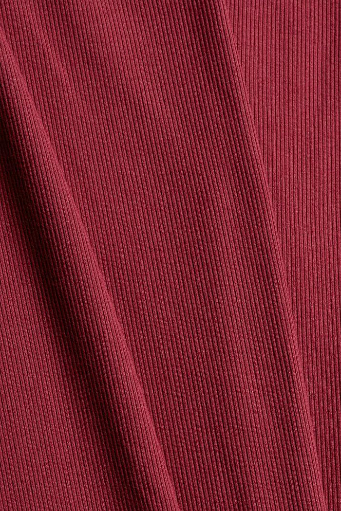 Geripptes Nachthemd aus Baumwoll-Jersey, DARK RED, detail image number 3
