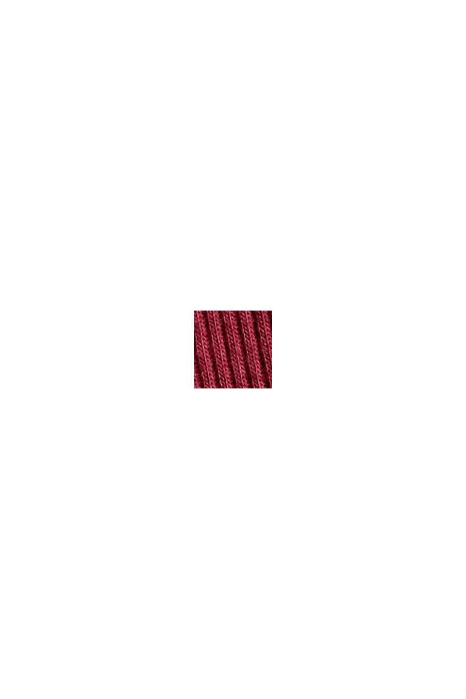 Geripptes Nachthemd aus Baumwoll-Jersey, DARK RED, swatch