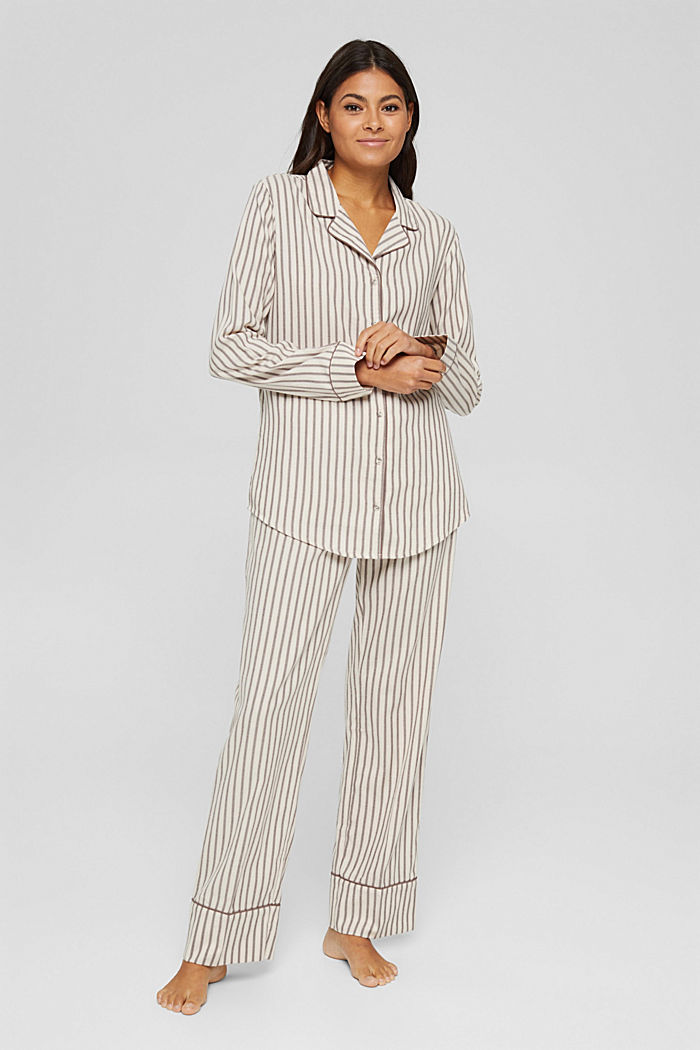 Pyjama aus 100% Organic Cotton, TAUPE, detail image number 1