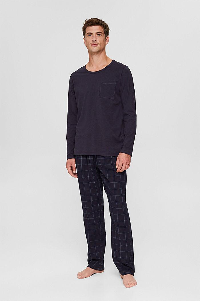 Langer Pyjama aus Organic Cotton, NAVY, detail image number 0