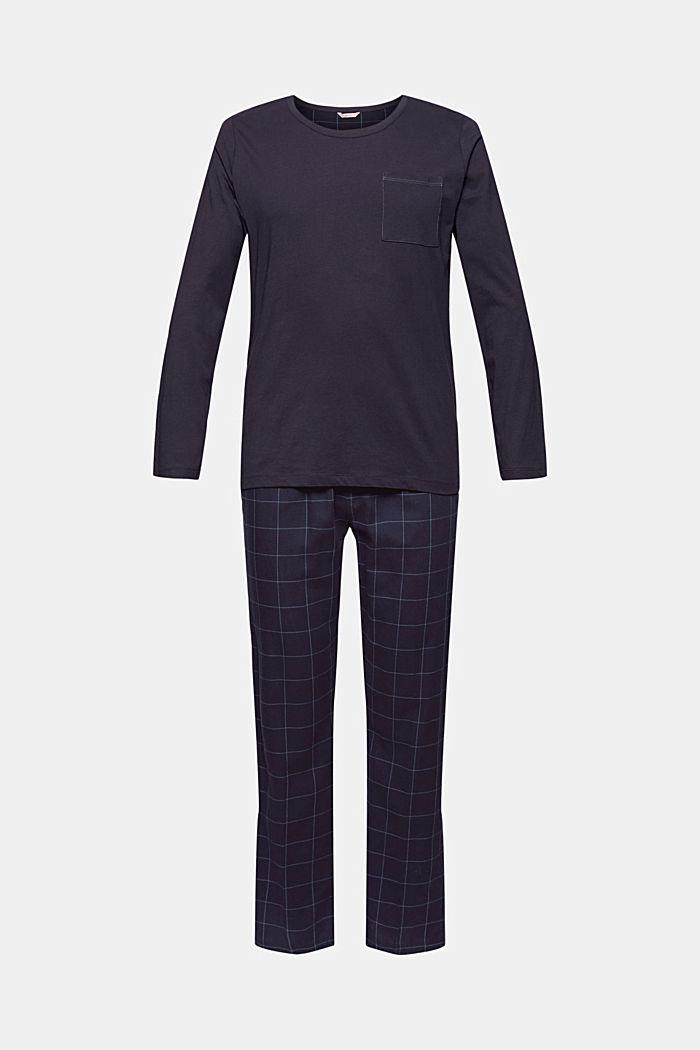 Langer Pyjama aus Organic Cotton, NAVY, detail image number 4