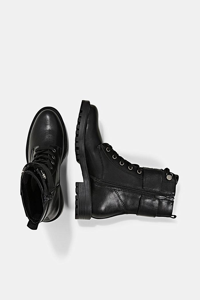Veganistisch: Laarzen van imitatieleer met gespdetail, BLACK, detail image number 1
